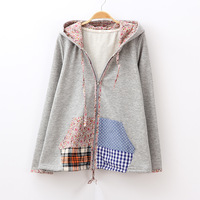 2013 autumn Women all-match patchwork kangaroo pocket with a hood loose sweatshirt