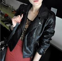 2013 autumn women's casual women's PU clothing female short coat slim design