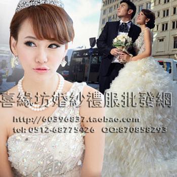 2013 one shoulder rhinestone sweet princess wedding dress train