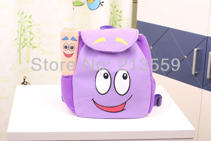 Frete grátis EMS 20 / Lot Dora o Explorador Tamanho PLUSH Backpack Pré Escola Bolsa Criança com MAP(China (Mainland))