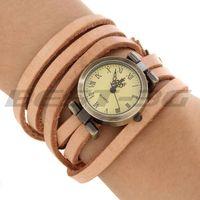 Unisex Quartz Wristwatch Wrist Watch Light Brown PU Band Wrap Bracelet