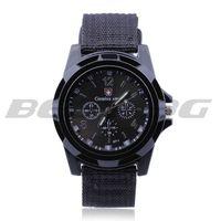 Men Gents Sports Black Nylon Band Big Dial Quartz Wrist Watch