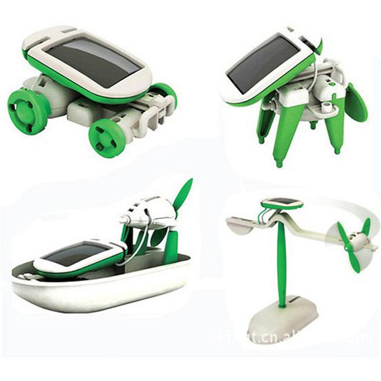New DIY 6 in 1 Solar Educational Kit Toy Boat Fan Car Robot Power Moving Dog Novelty Toys HG-03371(China (Mainland))