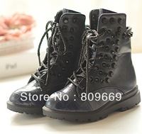 Martin boots kid's shoes girl's boots rivet boots  2013 new fashion girl's shoes boot motorcycle shoes