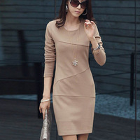 2013 NEW arrival women's dresses long sleeve solid color slim fashion lady gown free shipping F122