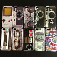 Free Shipping, 10pcs/lot, Vintage Game Player Dollars Recorder Tape Camera Loudspeaker Hard Plastic Case Cover Fit For iPhone 5C