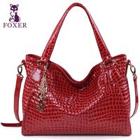 Wolsey 2013 women's cowhide handbag fashion crocodile pattern fashion one shoulder handbag japanned leather messenger bag