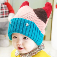 Winter princess bonnet child knitted hat 3d style cap baby warm hat