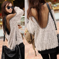 Spring and autumn loose racerback sexy gauze furry long-sleeve T-shirt women's sweet