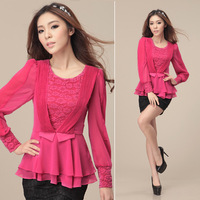 Free Shipping!Plus Size Chiffon long-Sleeve Shirt.Fat MM Lace Slim Lace Decoration Waist Tops
