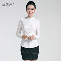 2013 autumn fashion slim long-sleeve ruffle plus size solid color shirt female lace shirt 231