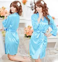 Women's translucent faux silk sexy sleepwear  robe plus size bathrobe lace underwear nightgown temptation