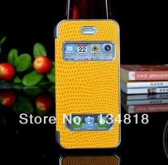 Paste leather of snake pattern plating leather Case for iPhone5 5g in stock!!!