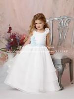 Fashion Design Formal Communion Layered White Organza Princess Little Flower Girl Dresses for Weddings KF099