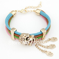 Skull Charms 14K Gold Plated Alloy Buckle Chain Leather Bracelet Wholesale