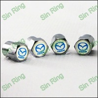100 Sets Stainless Steel Mini Tire Valves Caps With Car Emblem For Mazda