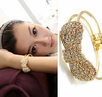 Cute Gold Plated Metal Springy Crystal Full Drill Czech Rhinestone Bowknot Charm Bangle Bracelets