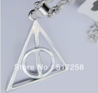 Free Shipping Harry potter the Deathly Hallows Logo Necklace Silver Metal Rotating Charms Necklace  Gift Christmas gift