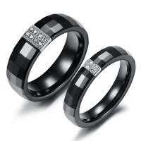 Fashion 2014 New Pure Black Ceramic Couple Wedding Ring Luxury Cubic Crystal Inlaid Rings For Women Men Jewelry 239