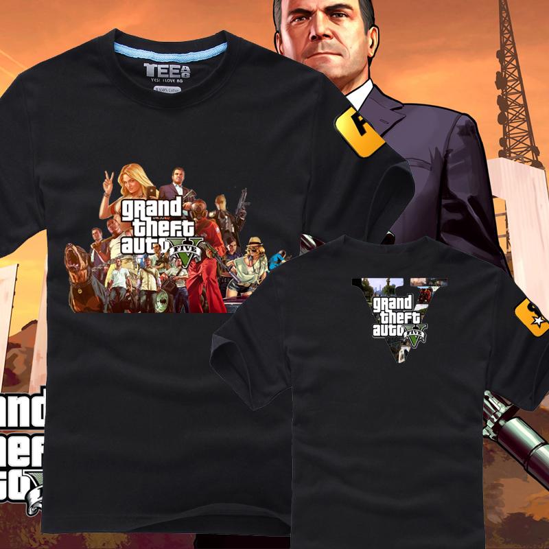 Games t-shirt gta5 5 cool short-sleeve T-shirt 02(China (Mainland))