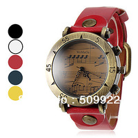 2013 Newest Music Notation Design Women Watch Fashion Leather Lady's Watch 5 Color Are Available Yellow DarkBlue Red Black White