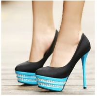 Free shipping  new luxury diamond stiletto shoes spell color high-heeled shoes