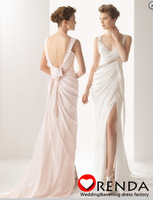 2014 New Charmming Allure Backless Pink and White Slit Summer Elegant Wedding Bridal Dresses Free Shipping