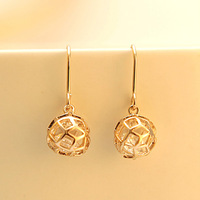 2014 European and American Cute Stylish 18k Gold Plated Ball Drop Earrings Fish Hook, Fashion Costume Jewelry, Factory Sirect
