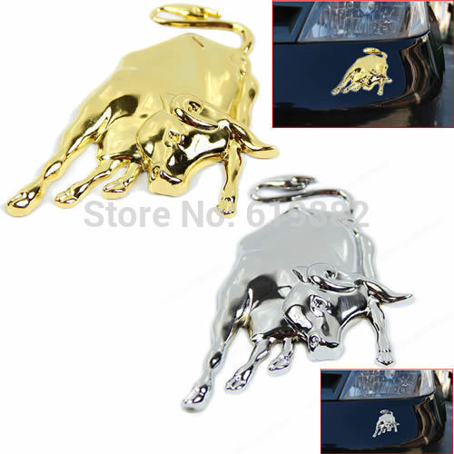 A31 Free Shipping 1PC New 3D Golden/Silver Chrome Metal Bull Ox Emblem Car Truck Motor Sticker Auto Decal(China (Mainland))