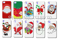 hot 10pcs/lots wholesale Santa Claus cartoon hard white case cover for iphone 5 5th +free shipping