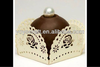 "party wedding favor souvenirs ""rose"" design small  laser cut square candy baking"