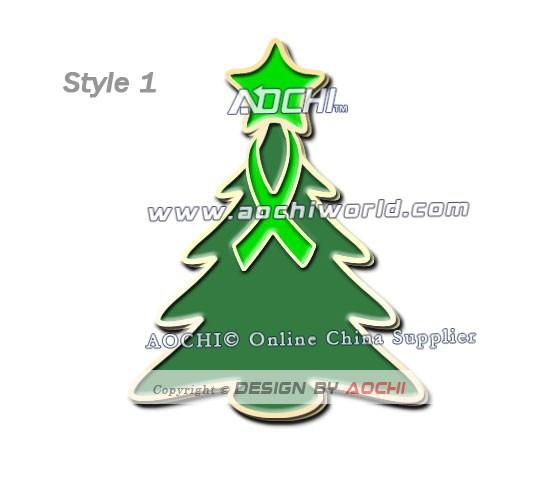 Free Shipping Best Selling High Quality Lymphoma Awareness Christmas Tree Lime Green Ribbon Lapel Pins(China (Mainland))