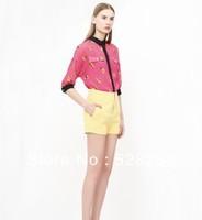 2013 fashion  red & yellow women chiffon blouse