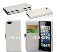 Free shipping 100pcs For iphone 5S Wallet Book Flip leather case