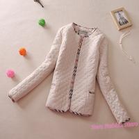 2013 Winter New Fashion SLIM WARM SOFT Classic Stripe Women Cotton Padded Jacket Coat Quilted Blazer Outerwear Plus Size 5XL Y83