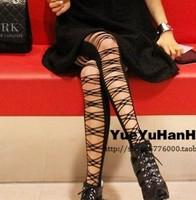2013 fashion autumn winter harajuku Punk rock sexy bandage cross cutout velvet pantyhose stockings tights for women black 130926