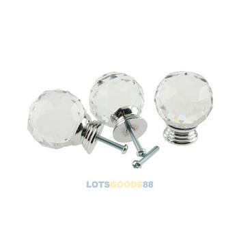 LS 5Pcs 40mm Crystal Glass Cabinet Knob Drawer Pull Handle Kitchen Door Wardrobe