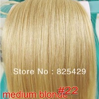"free shipping 20"" - 34"" 10pcs 160g DELUXE THICK full head 100% real human hair extension clip in/on #22 - medium blonde"