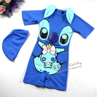 New 2013 summer children cartoon design one-piece swimsuit rash guards + cap