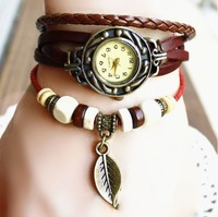 2013 New Leather couples retro leather bracelet watches wholesale Korea table