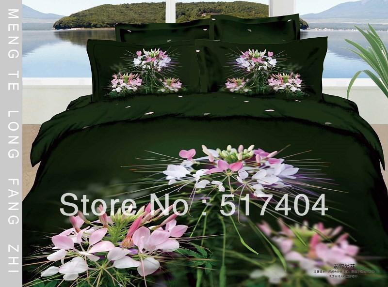 Hot printing dark green queen sheet cotton 4pc bedding set - Dark green comforter sets ...