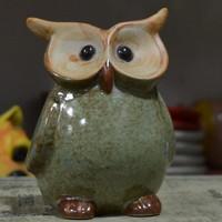 Zakka ceramic owl decoration big eyes owl wedding gift
