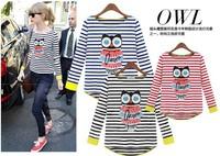 2014 Autumn Fashion Ladies Shirt Owl Letter Stripe Women's Long Sleeve Tops Plus Size T-shirt Novelty Blouses WT008