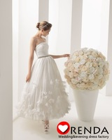 2013 New Fashion Allure Elegant Strapless Ball Gown Organza Beads Waist Ankle Length Short Cheap Wedding Bridal Dresses