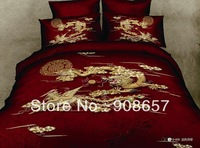 chinese wedding red Dragon Phoenix printed bedding full queen comforter bed in a bag set 400TC cotton quilt/duvet doona covers