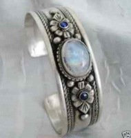 Superb Jewelry genuine Tibet Silver turquoise Moonstone Bracelet Bangle shipping free