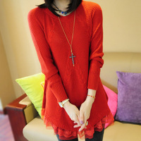 2013 autumn  female loose o-neck medium-long lace decoration pullover sweater outerwear Freeshipping