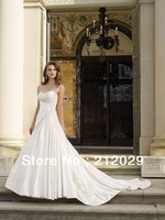 Bridal wedding dresses white/ivory Spaghetti Embroidery long train