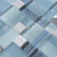 [Mius Art Mosaic] Blue Glass tile mixed aluminium alloy mosaic for wall decoration D1L4804