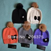 Freeshipping 2014 fashion real fur ball Rhinestone Heart decoration winter brand quality casual wool warm hat Skullies&Beanies